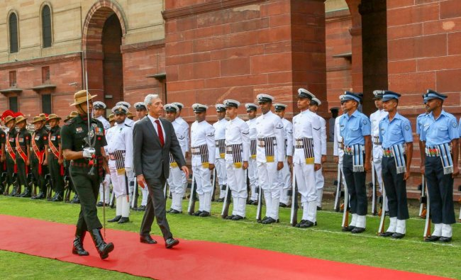 Portuguese Minister for National Defence João Gomes Cravinho inspects the Tri-Services guard of honour, at South Block in New Delhi, Wednesday, April 17, 2019. PTI