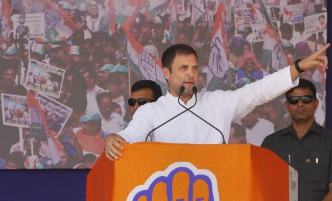 Congress President Rahul Gandhi addresses an election campaign rally for the General Elections 2019 in Bajipura village of Tapi district of Gujarat, Friday, April 19, 2019. (PTI Photo)