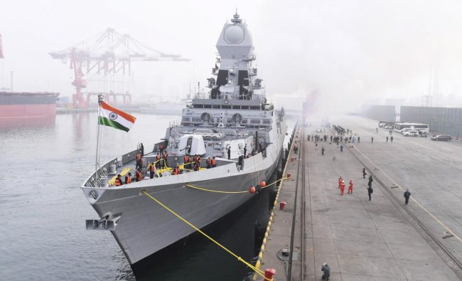 The Indian navy destroyer Kolkata docks at a port in Qingdao in eastern China\'s Shandong Province, Sunday, April 21, 2019. The ship arrived ahead of a naval parade commemorating the 70th anniversary of the founding of China\'s People\'s Liberation Army (PLA) Navy next week. AP/PTI(