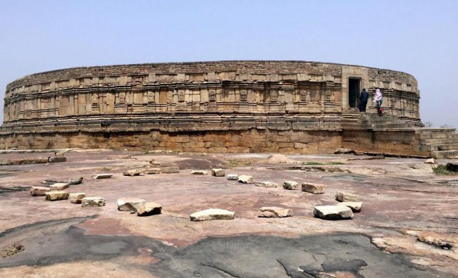 A view of the Chausath Yogini Temple, which resembles with Parliament, at Mitawali in Morena, Madhya Pradesh. (PTI Photo)