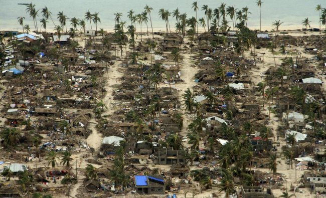 In this photo provided by the United Nations Office for the Coordination of Humanitarian Affairs (OCHA), badly damaged communities are seen from an aerial view, in Macomia district, Mozambique. (AP/PTI Photo)