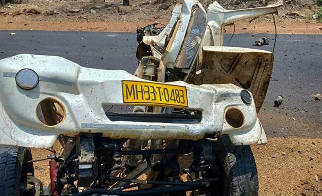 Mangled remains of a police vehicle that was blown up, allegedly by the Maoist rebels by using IED, while it was carrying 16 security personnel, in Gadchiroli district of Majharashtra. (PTI Photo)