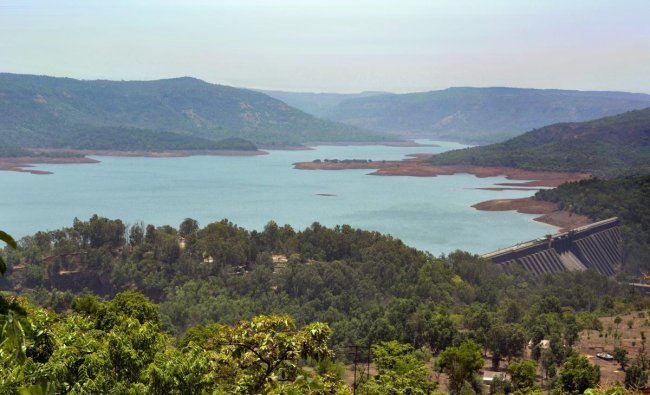 A view of decreased water levels at Koyna Dam on a hot summer day, in Satara. (PTI Photo)