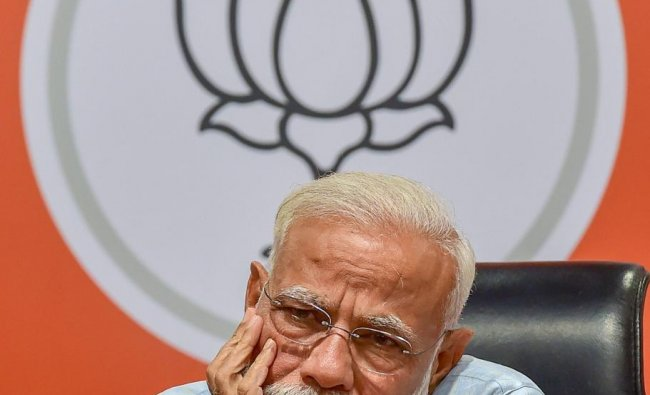 New Delhi: Prime Minister Narendra Modi reacts during a press conference at the party headquarter in New Delhi, Friday, May 17, 2019. PTI