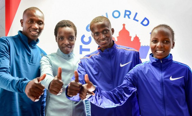 Bengaluru: Kenyan athletes Paul Tanui (R), Geoffrey Koech (L), Agnes Tirop and Rose Chelimo (R) during a press conference, ahead of World 10K Marathon event, in Bengaluru, Friday, May 17, 2019. PTI