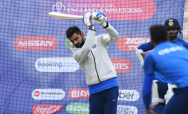 Virat Kohli bats in the nets during a training session at the Rose Bowl in Southampton ahead of their 2019 Cricket World Cup match against South Africa. (AFP Photo)