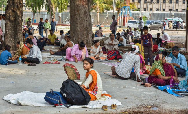 People from various parts of the country gather to receive \'fish prasadam\' distributed by the Bathini family, which is believed to cure asthma, in Hyderabad, Friday, June 7, 2019. More than three lakh people are expected to come for taking the \'prasadam\' this year. (PTI Photo)