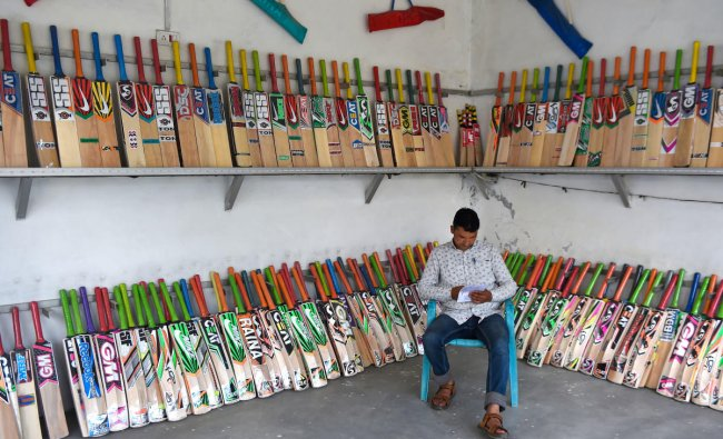 Cricket bats on display for sale at a factory showroom at Halmullah in Anantnag district of south Kashmir, Sunday, June 9, 2019. Kashmiri bat manufacturers, second leading exporters of the willow cricket bats after the UK, are experiencing a boom in sales due to ongoing Cricket World Cup. Kashmiri willow bats cost very less as compared UK manufactured bats and surprisingly around ten percent of these products are exported to several countries including UK. (PTI Photo/S Irfan)