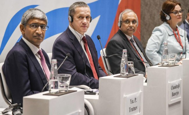 Deputy Prime Minister of Russia Yuri Trutnev (2nd L) with CII DG Chandrajeet Banerjee and others during the special session of the Eastern Economic Forum in Mumbai, Tuesday, June 18, 2019. PTI