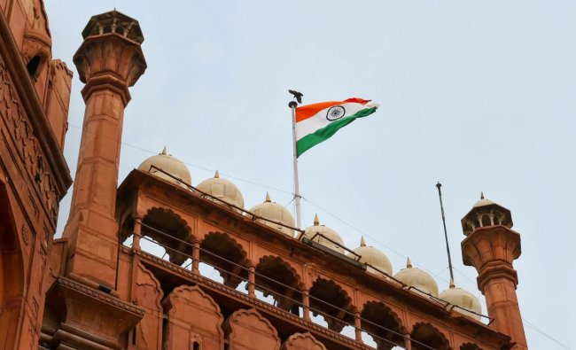 National flag at ramparts of Red Fort where restoration and conservation work is going on, in New Delhi, Monday, June 24, 2019. (PTI Photo)
