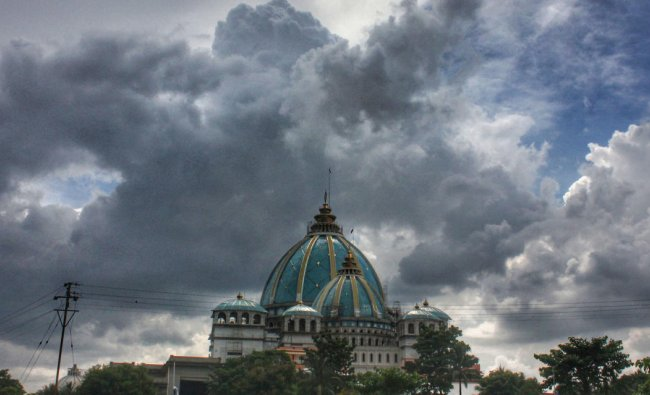Monsoon clouds hover over Mayapur Iskcon Temple, in Nadia, Friday, July 5, 2019. (PTI Photo)