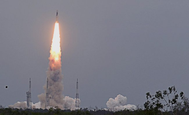 GSLV Mark III, the rocket that is being used for the Chandrayaan-2 mission takes off from Satish Dhawan Space Centre (SDSC) SHAR, Sriharikota, on Monday. (DH Photo/Pushkar V)