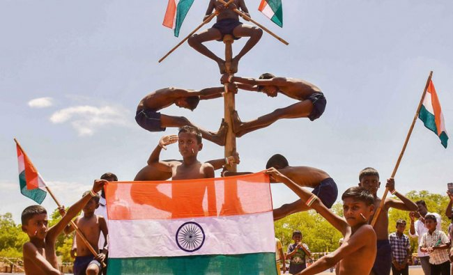 Students perform \'Mallar Kambam\', an ancient form of gymnastics, during 73rd Independence Day celebrations in Madurai, Thursday, Aug 15, 2019. (PTI Photo)