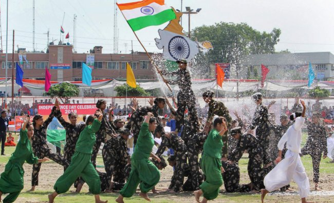 School children perform during 73rd Independence Day celebrations at Mini Stadium, in Jammu, Thursday, Aug 15, 2019. (PTI Photo)