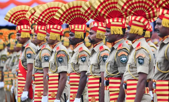 Sashastra Seema Bal (SSB) personnel stand in a formation during a ceremony in Guwahati on August 15, 2019. (Photo: AFP)