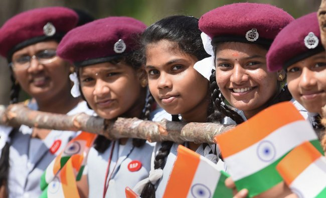 School students during the 73rd Independence Day celebrations at Fort St. George in Chennai, Thursday, Aug. 15, 2019. (PTI Photo)