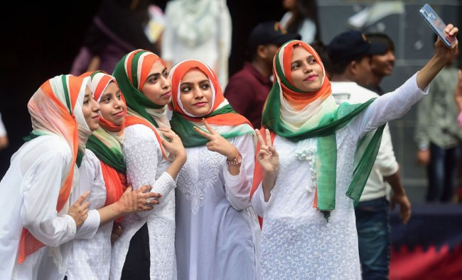 Students from the Anjuman Islam school take part in the 73rd Independence Day celebrations, in Mumbai, Thursday, Aug 15, 2019. (PTI Photo)