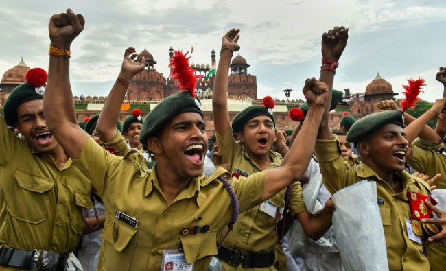 NCC cadets celebrate on the occasion of 73rd IndependenceDay, at the historic Red Fort in New Delhi, Thursday, Aug 15, 2019. (PTI Photo)
