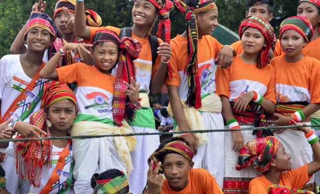School children after taking part in a cultural programme during 73rd Independence Day celebrations in Agartala, Aug 15, 2019. (PTI Photo)