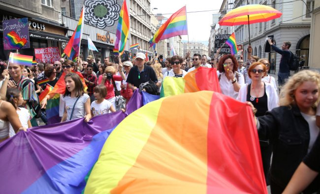 Participants are seen during the first gay pride parade in Sarajevo, Bosnia and Herzegovina September 8, 2019. (Photo by Reuters)