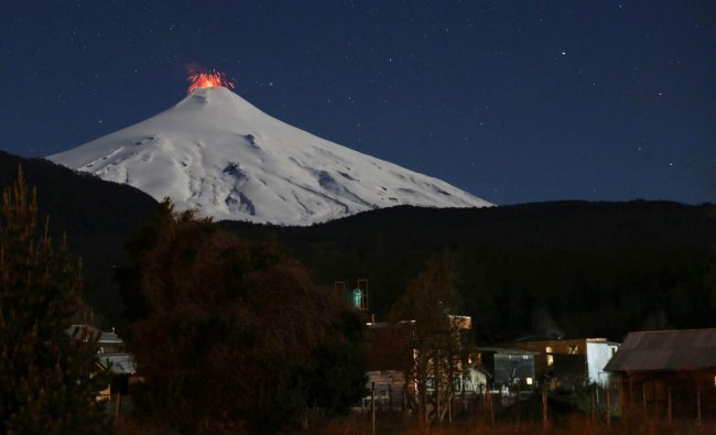 The Villarrica Volcano is seen at night from Pucon town, Chile. Reuters