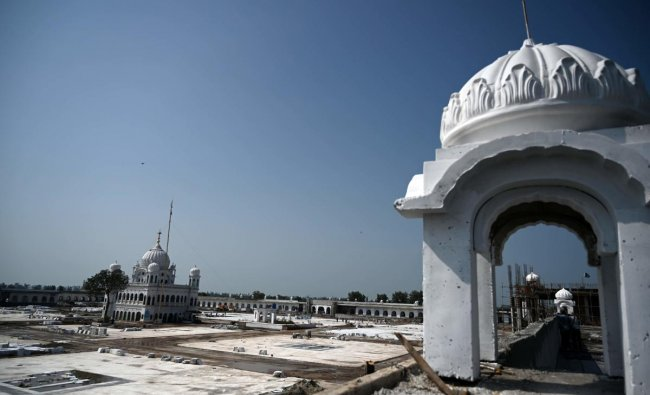 A general view of the construction site at the Sikh religious site Gurdwara Darbar Sahib, in the Pakistani town of Kartarpur near the Indian border. (AFP Photo)