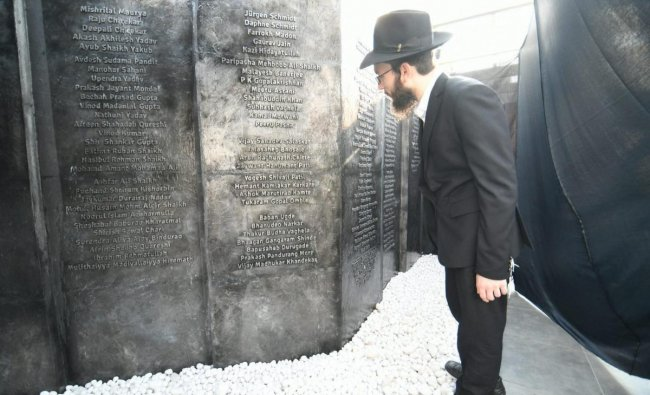 Mumbai: Director of Chabad House Rabbi Yisroel Kozlovsky at the inauguration of the Nariman Lighthouse Memorial on the 10th anniversary of Mumbai terror attacks, in Mumbai, Monday, Nov 26, 2018. Chabad House was one of the targets of the terrorists during the 26/11 terror attacks in Mumbai. (PTI Photo/Shirish Shete)