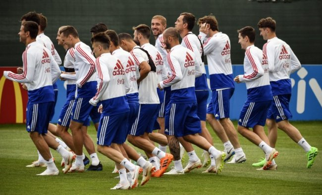 Russia\'s players attend a training session in Novogorsk outside Moscow ahead of the 2018 World Cup quarter-final football match against Croatia. Credit: Alexander NEMENOV / AFP