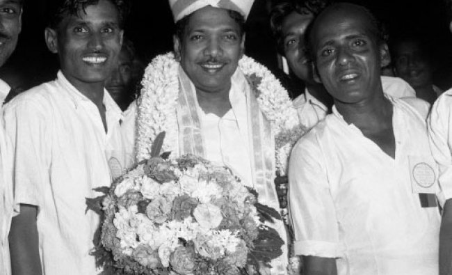 Then Tamil Nadu Chief Minister Karunanidhi in Mysore Peta at Tamil Sangam in Bangalore in 1969.