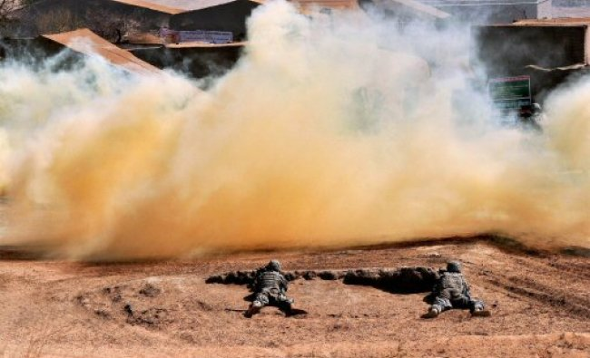 Soldiers of Indian and US armies at Indo-US military exercise...