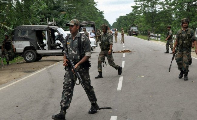 Security personnel in curfew-bound Tezpur in Assam on Tuesday...
