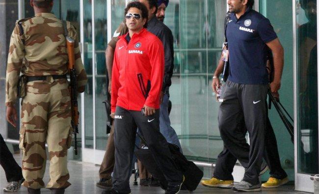 Sachin Tendulkar and Zaheer Khan arrives in Bengaluru for the second test against New Zealand...