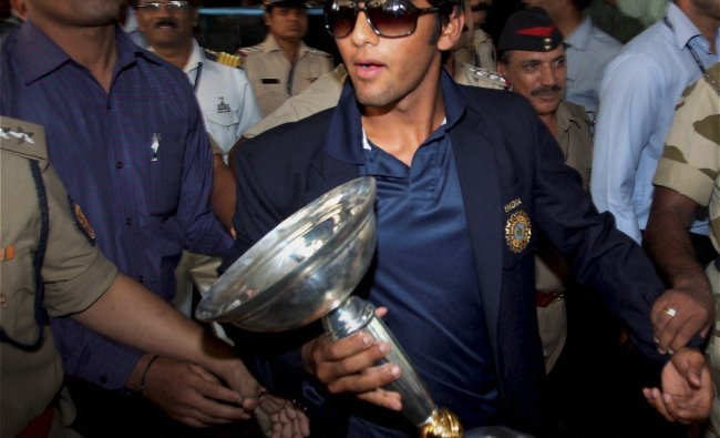 Under-19 Team India captain Unmukt Chand on his arrival at the airport...