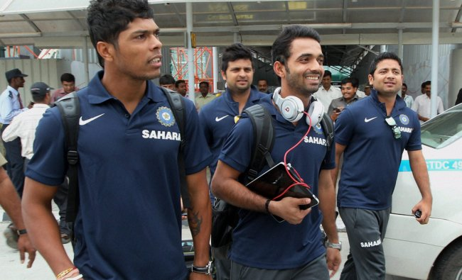 Indian cricket team on their arrival at the airport in Bengaluru on Tuesday