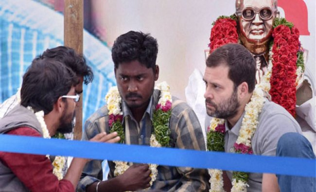 Congress Vice President Rahul Gandhi ineracts with students agitating over Rohith Vemula\'s death ...