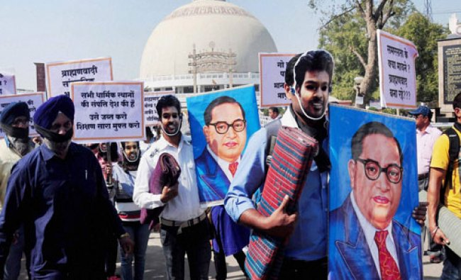 Students taking part in a \'Peace March\' over Rohit Vemula\'s death at Dikshabhoomi in Nagpur, Maha...