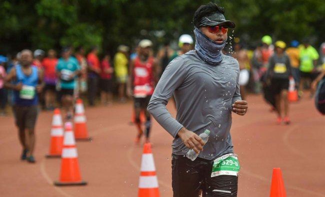 Amateur athletes take part in a 24-hour stadium run, in Mumbai, Sunday, June 16, 2019. PTI