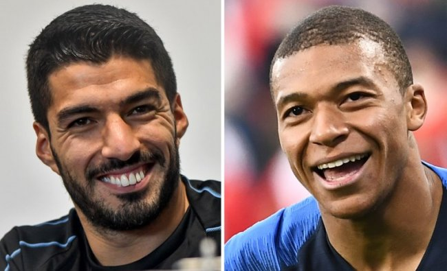 These photos show Uruguay\'s forward Luis Suarez (L) and France\'s forward Kylian Mbappe. France will play Uruguay in their Russia 2018 World Cup quarter-final football match at the Nizhny Novgorod Stadium in Nizhny Novgorod on July 6, 2018. Credit: Anne-Christine POUJOULAT, Martin BERNETTI / AFP