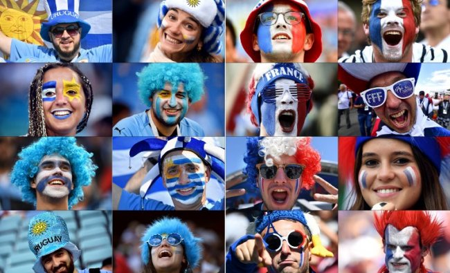 These photos show fans of Uruguay (L) and France supporting their team during the Russia 2018 World Cup football tournament. France will play Uruguay in their the Russia 2018 World Cup quarter-final football match at the Nizhny Novgorod Stadium in Nizhny Novgorod on July 6, 2018. Credit: AFP