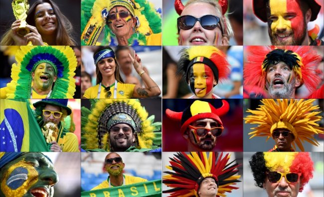 These photos show fans of Brazil (L) and Belgium supporting their team during the Russia 2018 World Cup football tournament. Brazil will face Belgium in their Russia 2018 World Cup quarter-final football match at the Kazan Arena in Kazan on July 6, 2018. Credit: AFP