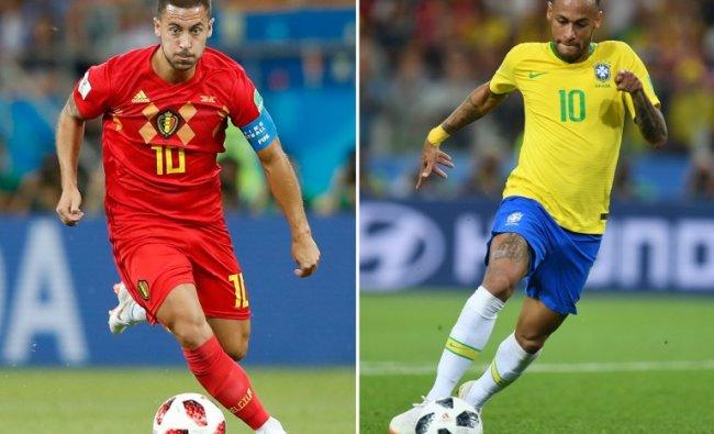These photos show Belgium\'s forward Eden Hazard (L) and Brazil\'s forward Neymar. Brazil will face Belgium in their Russia 2018 World Cup quarter-final football match at the Kazan Arena in Kazan on July 6, 2018. Credit: Odd ANDERSEN, Patrik STOLLARZ / AFP