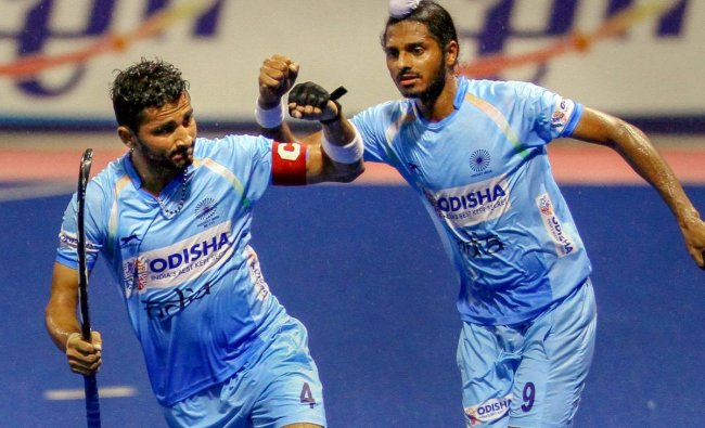 Indian Junior Men's Hockey Team players celebrate after defeating Japan and winning the third consecutive match at the 8th Sultan of Johor Cup 2018, in Johor Bahru, Malaysia. (PTI photo)