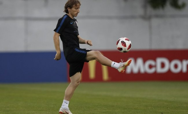 Croatia\'s midfielder Luka Modric controls a ball during a training session at Adler training ground in Sochi during the Russia 2018 World Cup. Credit: Adrian DENNIS / AFP