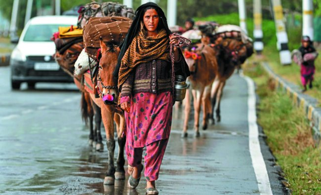 A nomad walks along with horses on the banks of the Dal Lake after a rainfall during a lockdown in Srinagar. (Photo by AFP)