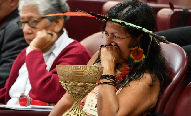 A representative of one of the Amazon Rainforest\'s ethnic groups at the Special Assembly of the Synod of Bishops for the Pan-Amazon Region in the Vatican. (Photo yb AFP)