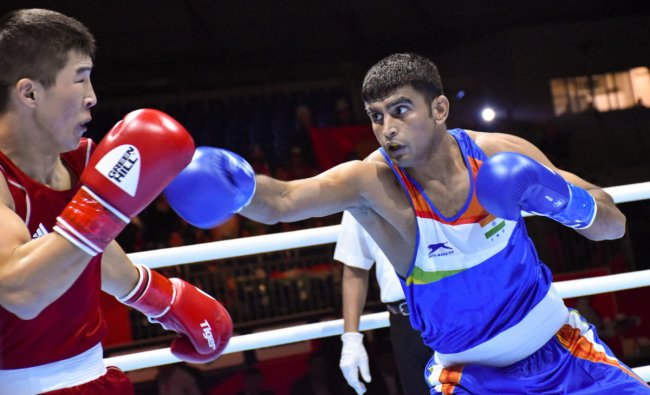 Commonwealth Games 2018 silver medallist Manish Kaushik (63 kg) during a bout against Kyrgyzstan's Argen Ullu Kadyrbek at the AIBA Men's World Championships in Ekaterinburg, Russia. PTI
