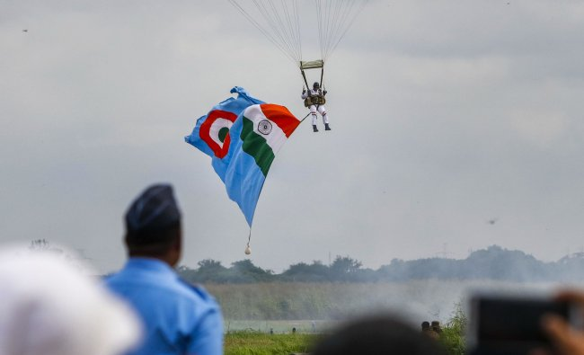 Akash Ganga, the skydiving team of the Indian Air Force (IAF), rehearse for the upcoming Air Force Day. (PTI)