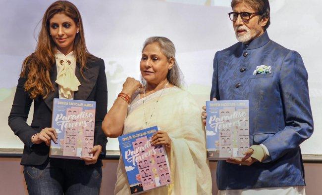 Bollywood actors Amitabh Bachchan and Jaya Bachchan launch their daughter Shweta Bachchan Nanda's first book \'Paradise Towers\' in Mumbai. (PTI photo)