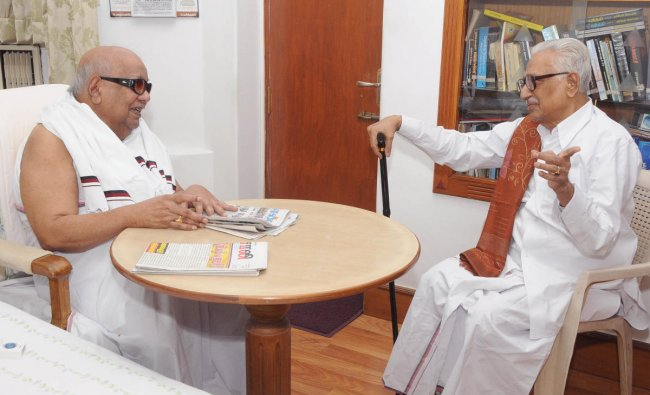 DMK President MKarunanidhiwith his long-time friend K Anbhazhagan, general secretary of the party. TheKarunanidhi-Anbhazhagan friendship is legendary for lasting many decades. A file photo of the duo.