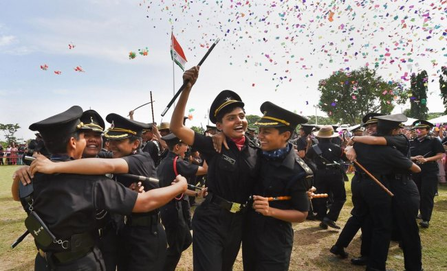Cadets celebrate after a passing-out parade at Officers Training Academy (OTA), in Chennai, Saturday, Sept. 7, 2019. (PTI Photo)